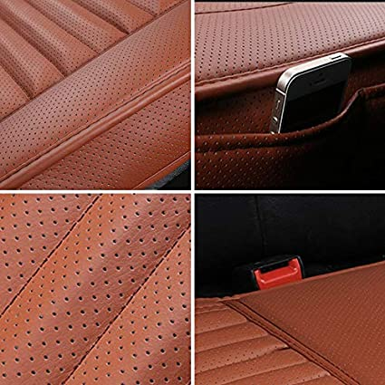 CHIAE Car Seat Cover Beige Car Interior Seat Protector Covers Leather Breathable 2pc Seat Covers Cushion Edge Full Encircled Auto Supplies Office Bamboo Charcoal