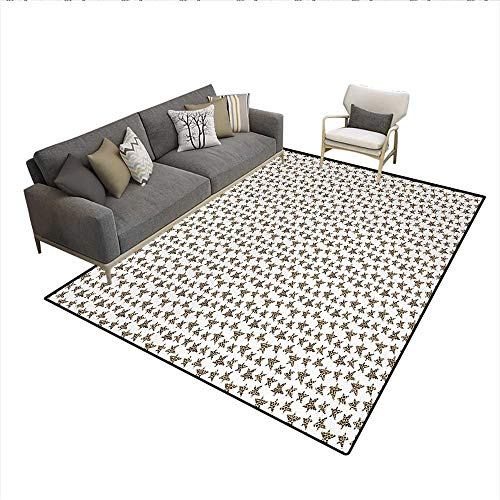 Carpet,Skin of Leopard Pattern Punk Rock Themed Illustration Abstract Animal Design,Non Slip Rug Pad,Beige Black ()
