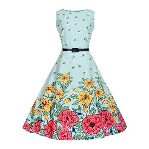 DongDong Big Promotion! Dress Vintage Printing Prom Swing Bodycon Sleeveless Evening Party (Vintage Oak Valet)
