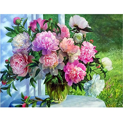 (ANMUXI 5D Diamond Painting Kits Full Square Drills for Adults 20X25CM Peony by The Window Scenery Flowers Paint with Diamonds Art for Stress-Relief & Home Decor)