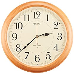 CASIO IQ-1150NJ-7JF plain wood frame wall clock with analog radio feature Steady (Japan Import)