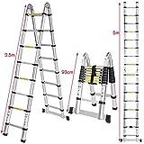 Homdox folding ladder telescopic ladder with rubber ring non-slip steel securing pins aluminium multi-purpose ladder stepladder extendable folding 150 kg
