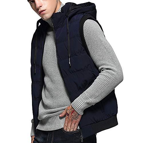 Men's Vest Autumn Winter Casual Hoodie Pure Color Waistcoat Vest Jacket Top Coat Dark Blue ()