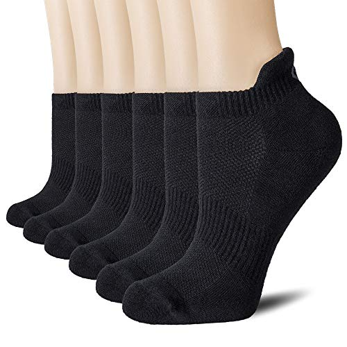 - CelerSport Cushion No Show Tab Athletic Running Socks for Men and Women (6 Pairs),Small, Black