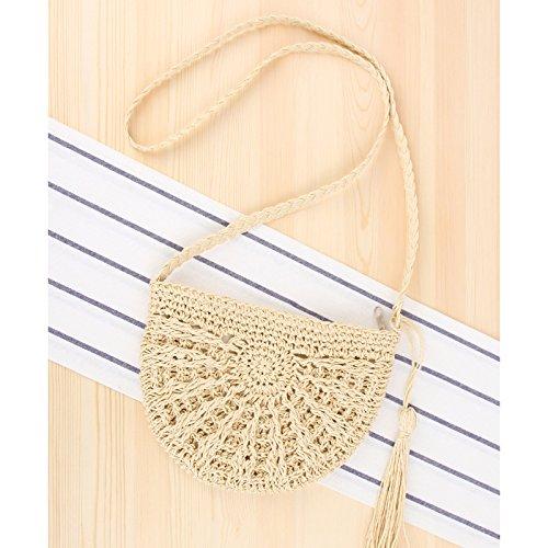 Straw Round Handbags Beach and Women Crossbody Shoulder Summer Bag Bag Weave Beige 3 Purse Yw4YxrP