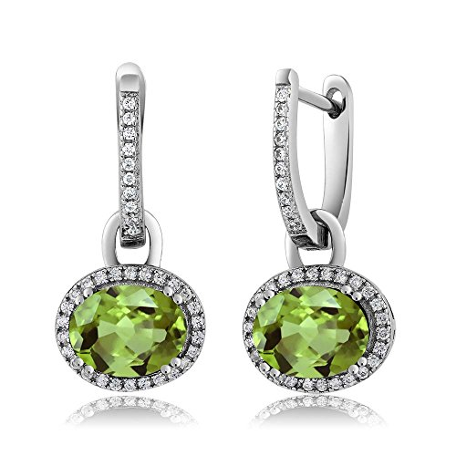 (Sterling Silver Stunning Oval Gemstone Birthstone Dangling Earrings)
