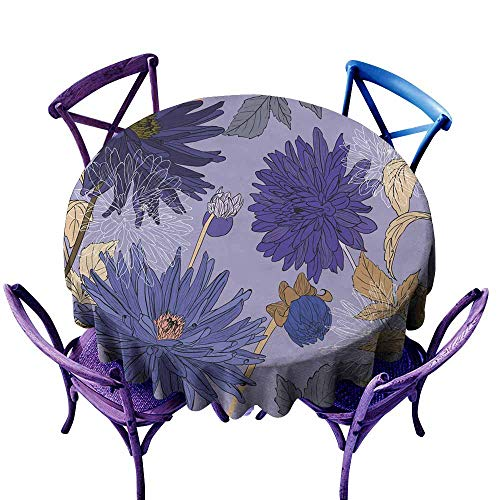 Resistant Table Cover Seamless Pattern with Bouquets of Beautiful Flowers of Garden Aster Party Decorations Table Cover Cloth s 47 INCH