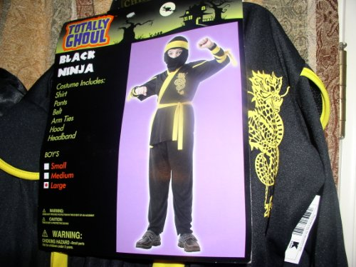 Black Ninja with Yellow Headband/Belt and Arm Ties - [Boy's Medium]