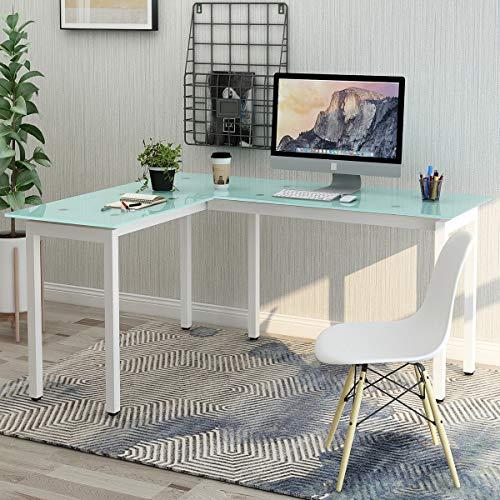 ModernLuxe WF036969KAA L-Shape Home Office Corner Computer Desk - Glass Top File Cabinet
