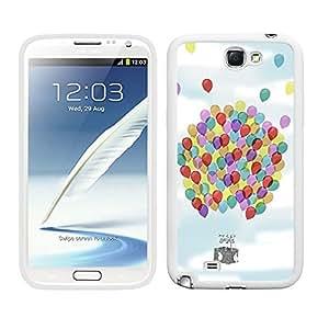 Funda carcasa TPU Gel para Samsung Galaxy Note 2 diseño cesta globo globos de colores borde blanco