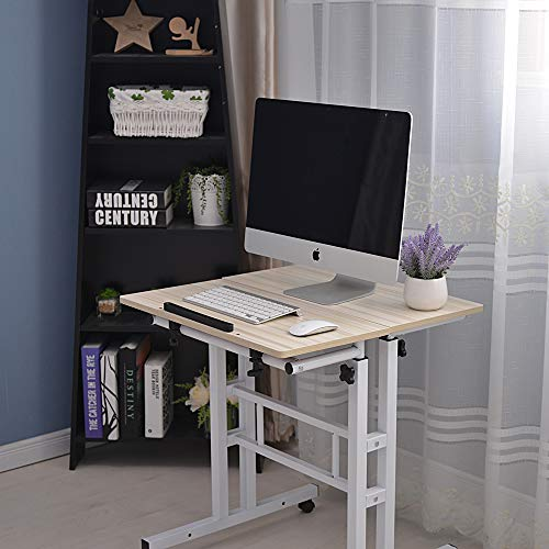 Binlin Computer Desk,Djustable Standing Laptop Desk Computer Table Work Station 2 Tier Computer Desk with Printer Shelf/Keyboard Tray Home Office Rolling Study Table