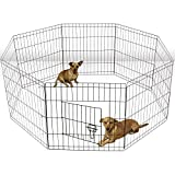 ALEKO SDK-24B Heavy Duty Pet Playpen Dog Kennel Pen Exercise Cage Fence 8 Panel 24 x 24 inches Black