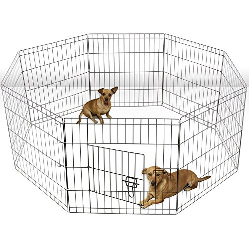 ALEKO SDK-24B Heavy Duty Pet Playpen Dog Kennel Pen Exercise Cage Fence 8 Panel 24 x 24 Inches Black For Sale