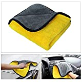 Car Microfiber Towel Car Wash Towel Car Clean Dry Towel Ultra Thick Super Absorbent Double Layers Professional Grade Premium Car Polishing Waxing Cleaning Detailing Cloth 840gsm 12 x 16inch-yellow/gre