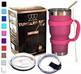 30 oz Tumbler - 6 Piece Stainless Steel Insulated Water & Coffee Cup Tumbler with Straw, 2 Lids, Handle - 18/8 Double Vacuum Insulated Travel Flask (Pink, 30oz)
