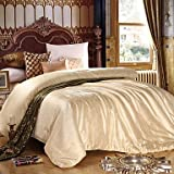 CXYY Summer Natural Silk Comforters White Beige Pink , king