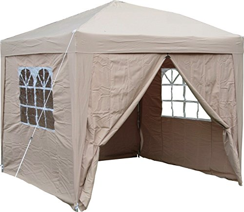 airwave pop up waterproof gazebo in beige with 2 windbars and 4 leg weight bags. Black Bedroom Furniture Sets. Home Design Ideas