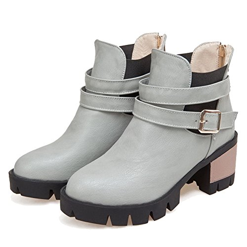 AllhqFashion Womens Soft Material Round Closed Toe Solid Low Top Kitten Heels Boots Gray N8OBNWW