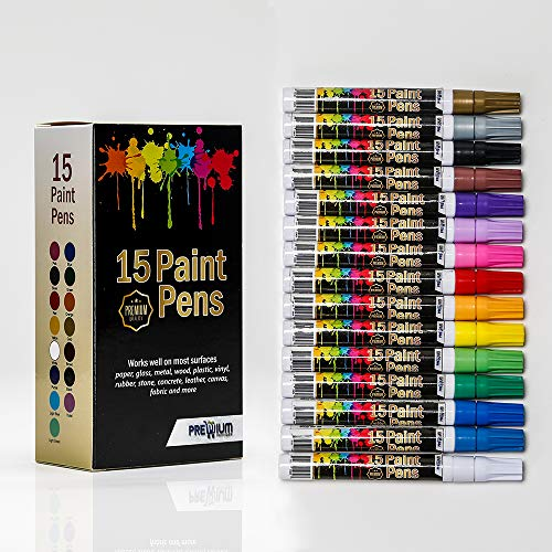 Acrylic Paint Pens for Rock Painting - Wood, Glass, Metal, Ceramic, Set of 15 Oil Based Paint Markers, fine Point, Water Resistant, Quick Dry, Ideal Gifts for Art Craft Lovers