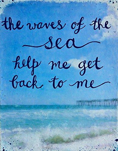 Mixed Media Art Print Quotes Waves of the Sea Beach Decor Wall Art