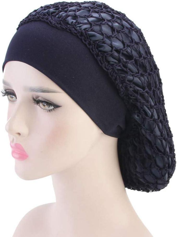 Cuffia da notte con retina e turbante per capelli Lurrose per chemioterapia colore: nero da donna