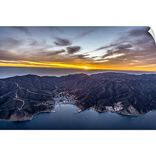 Santa Island - CANVAS ON DEMAND Copterpilot Photography Wall Peel Wall Art Print Entitled Santa Catalina Island at Sunset 36