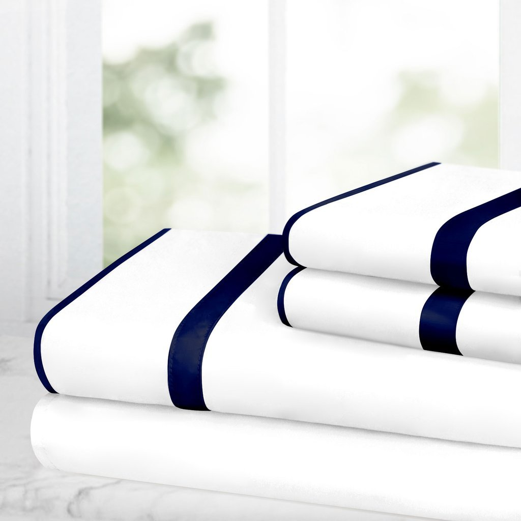 Egyptian Luxury Bed Sheet Set – 1500 Hotel Collection w/ Beautiful Satin Band Trim - Ultra Soft Wrinkle & Fade Resistant Microfiber, Hypoallergenic 4 Piece Set- King - White/Navy
