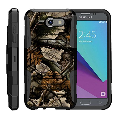 TurtleArmor | Samsung Galaxy J3 Emerge Case | J3 (2017) [Octo Guard] Dual Layer Case Holster Belt Clip Sturdy Kickstand Cover - Tree Leaves Camouflage