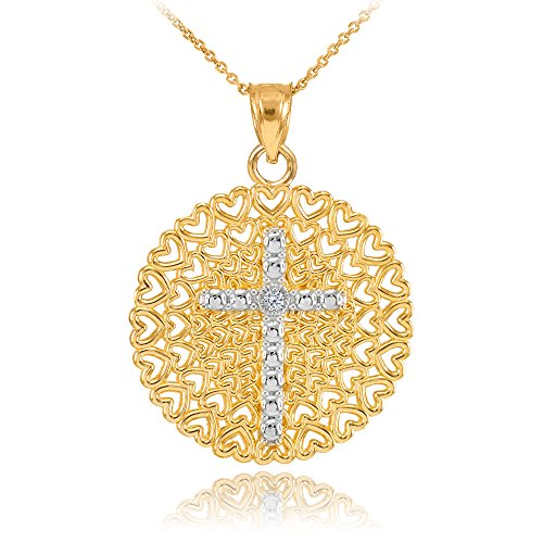 14k-Two-Tone-Gold-Filigree-Heart-Cross-Diamond-Pendant-Necklace