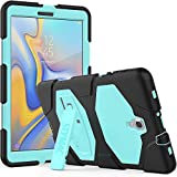 SEYMAC Samsung Galaxy Tab A 10.5 Case, Full Body Rugged Shockproof Drop Protection Silicone Defender Case with Kickstand for Samsung Galaxy (SM-T590/SM-T595/T597) Tab A 10.5 inch - Black/Light Blue