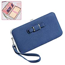 Women Wallet Clutch Purse Handbag Aeeque iPhone X 6S 7 8 Plus 5S Card Case [Wrist Strap] Pocketbooks Zipper Coin Pocket, Galaxy S8 Plus S7 S6 Edge J7 J3 A3 A5 A7 Flip Cover, Gifts for Her
