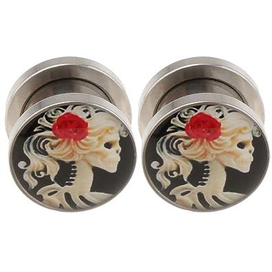 IPOTCH 2 Piezas Túnel de Orejas Expansores de Oídos Dilatador Gótico Patrón de Calavera Accesorios para Disfraces 12mm - 10mm: Amazon.es: Joyería