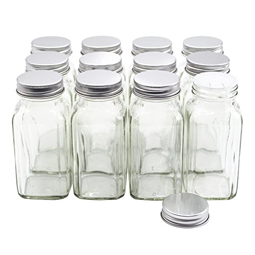 Square Glass Spice Jars - U-Pack 12 pieces of French Square Glass Spice Bottles 6 oz Spice Jars with Silver Metal Lids, Shaker Tops, and Labels by U-Pack
