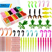 Sidomma One-Stop 390 Pcs Fishing Lures Set with Tackle Box, Soft Plastic Fishing Lures for Bass, Trout, Salmon