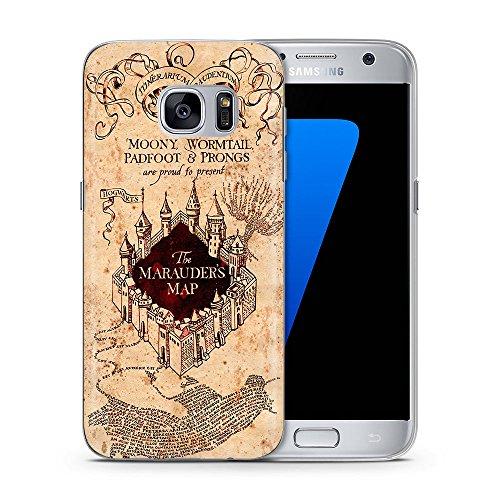 Harry Potter Funda/Cubierta del Teléfono para Samsung Galaxy S7 (G930) con Protector de Pantalla / Silicona Suave de Gel/TPU / iCHOOSE / Mapa de Marauder Mapa de Marauder