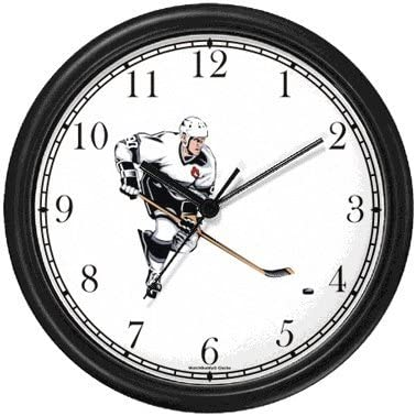 Hockey Player No.1 Ice Skating Theme Ice Skating Wall Clock by WatchBuddy Timepieces Black Frame