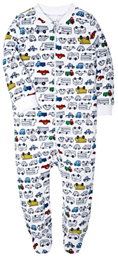 Footed Baby Pajama Boys Girls Sleeper Long sleeve 100% cotton Zip Front (Months Boys One Piece)