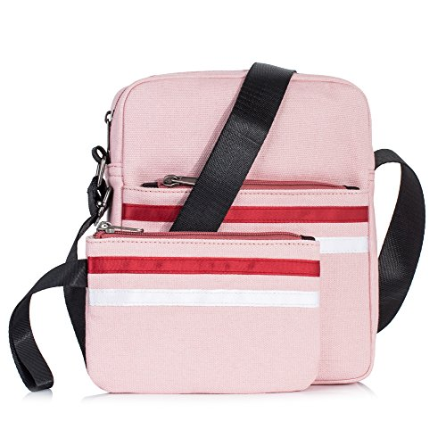 Leaper Canvas Messenger Bag Crossbody Bag Purse Shoulder Bag Pencil Case Pink