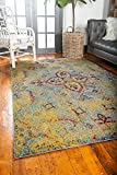 Unique Loom Vita Collection Traditional Over-Dyed Vintage Yellow Area Rug (5′ x 8′)