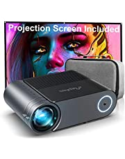 """$305 » Mini Projector ELEPHAS, Native 720P Video Projector, Supported 1080P HD 200"""" LED Portable Movie Projector with 100 Inch Projector Screen, Compatible with HDMI VGA AV USB Micro SD, Black. Multi-Way"""