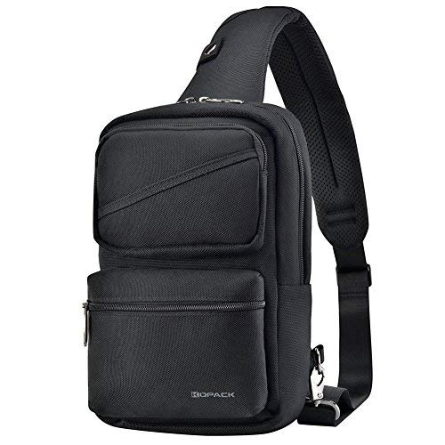 Sling Backpack Crossbody Pack Bag One Strap Large Anti-Theft Pocket Padded Water Resistant Chest Bag Men Black for 9.7in Tablet
