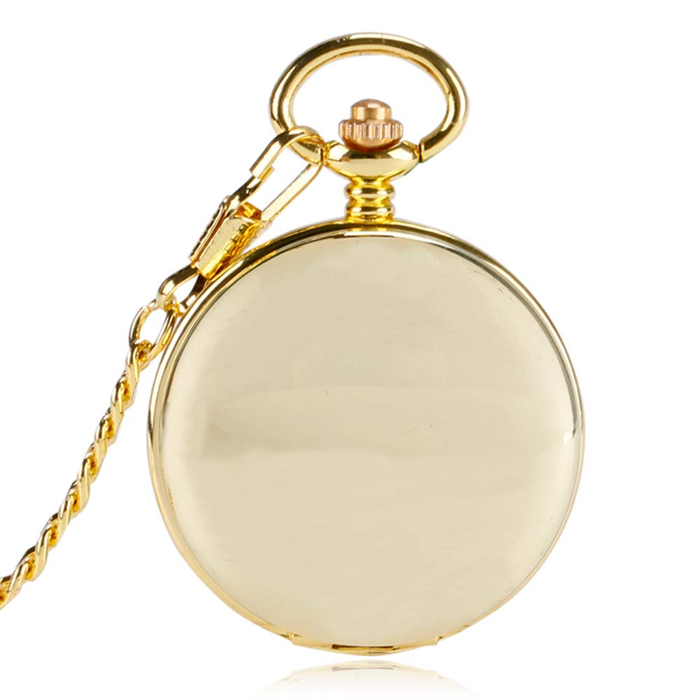 Gold Pocket Watch, Smooth Mechanical Pocket Watch for Men Women, Retro Hand Wind Double Hunter Pocket Watch Gift