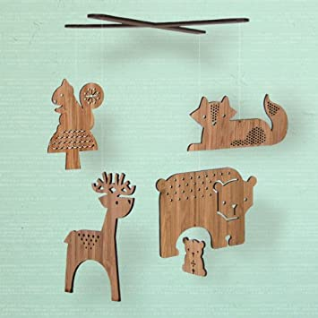 Amazon com : Petit Collage Bamboo Mobile - Forest Friends