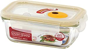 LOCK & LOCK Purely Better Glass Food Storage Container with Steam Vent Lid, Rectangle-13 oz, Clear
