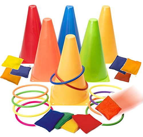 Prextex 3 in 1 Carnival Outdoor Games Combo Set Cornhole Bean Bags Ring Toss Game and Birthday Party Outdoor Games Supplies Plastic Cone Set 26 Piece Set -