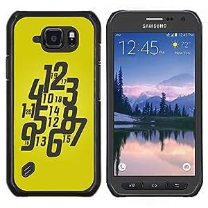 TECHCASE---Cubierta de la caja de protección para la piel dura ** Samsung Galaxy S6 Active G890A ** --Tipografía Funky reloj amarillo
