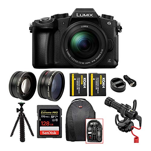 Panasonic Lumix G85 4K Mirrorless Camera with G Vario 12-60mm Lens, Rode On-Camera Mic with Shock Mount, 128GB SD Card, Battery and Dual Charger, Backpack, 58mm Lens Set and Tripod Bundle (7 Items)