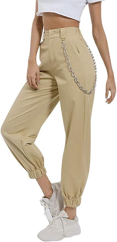 Risthy Pantalones Cargo Mujer Hip Hop Danza Pantalon Harem Pantalones Largos Cintura Alta Casuales Pantalones Con Cadena Mujer Amazon Es Ropa Y Accesorios