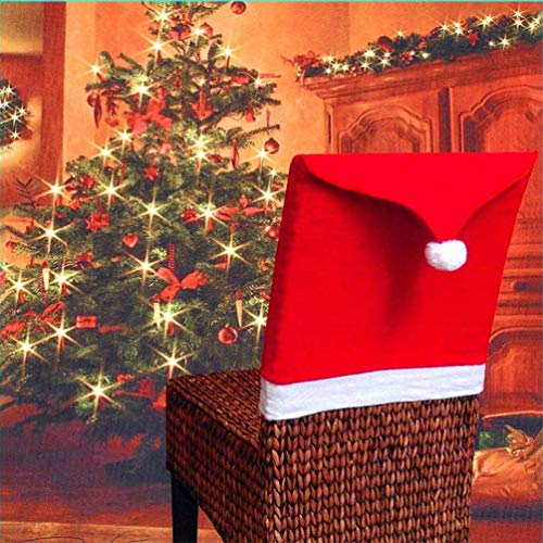 Swelt Christmas Chair Covers Set of 4, Santa Hat Chair Covers for Dining Room Holiday Christmas Decorations Red