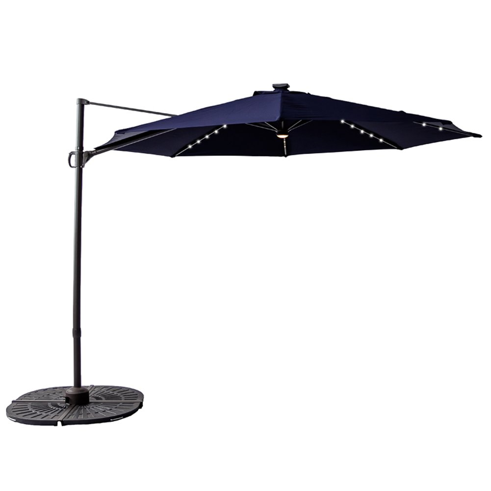 C-Hopetree 10 feet LED Cantilever Offset Umbrella, Hanging Patio Umbrella , Solar Lights, Cross Base, Infinite Tilting, 360° Axis Rotation, Navy Blue by C-Hopetree
